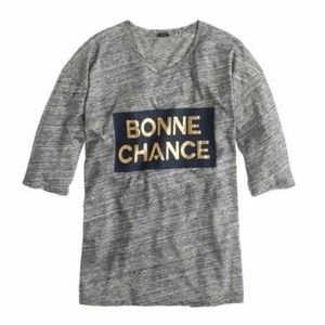 New J. Crew Bonne Chance Good Luck Gray Gold